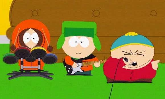 Kenny, Kyle und Cartman spielen Rockband