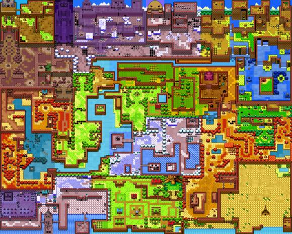Die Landkarte von Oracle of Seasons, zusammengefügt.